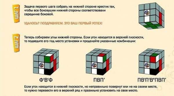 Как собрать Кубик Рубика Шаг 1-2