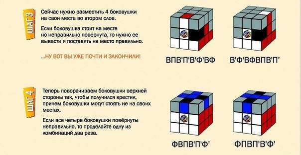 Как собрать Кубик Рубика Шаг 3-4
