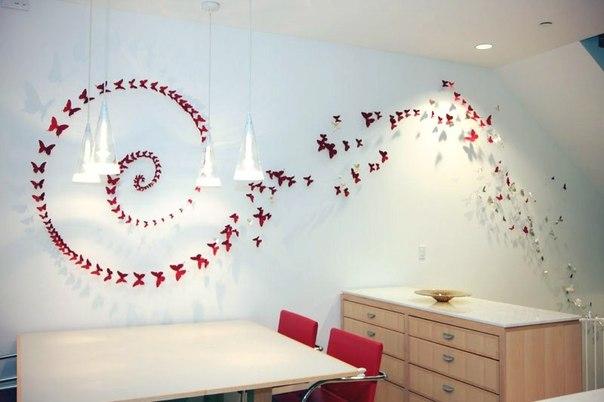 Декор из бабочек на стене своими руками