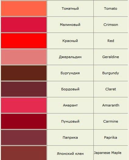 Спектр цвета красного