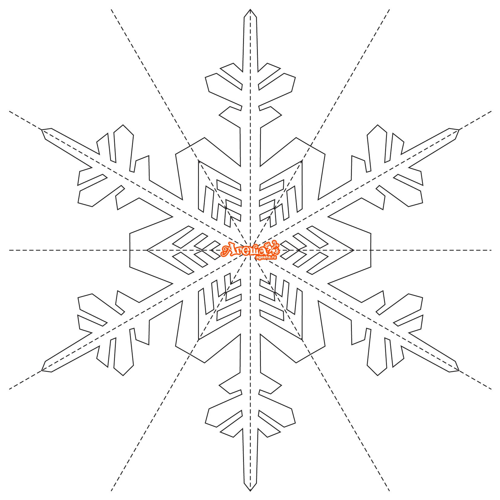 трафареты снежинок из бумаги распечатать
