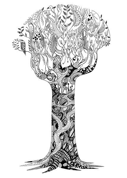 Line Art Tree : Трафареты деревьев скачать бесплатно