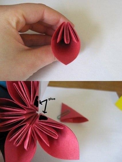 Схема цветок из цветной бумаги своими руками