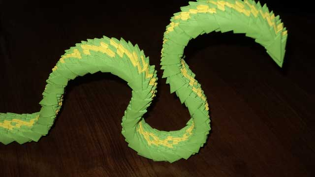 Змея из оригами своими руками