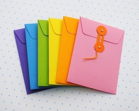 Конверты из цветной бумаги своими руками