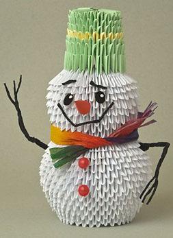 Как сделать модульное оригами снеговик 610