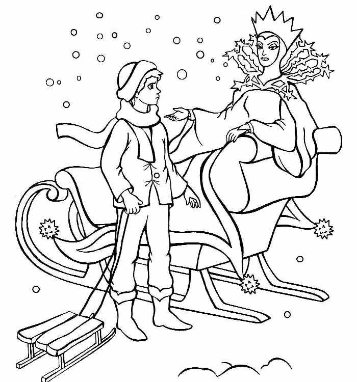 Раскраска по сказки снежная королева