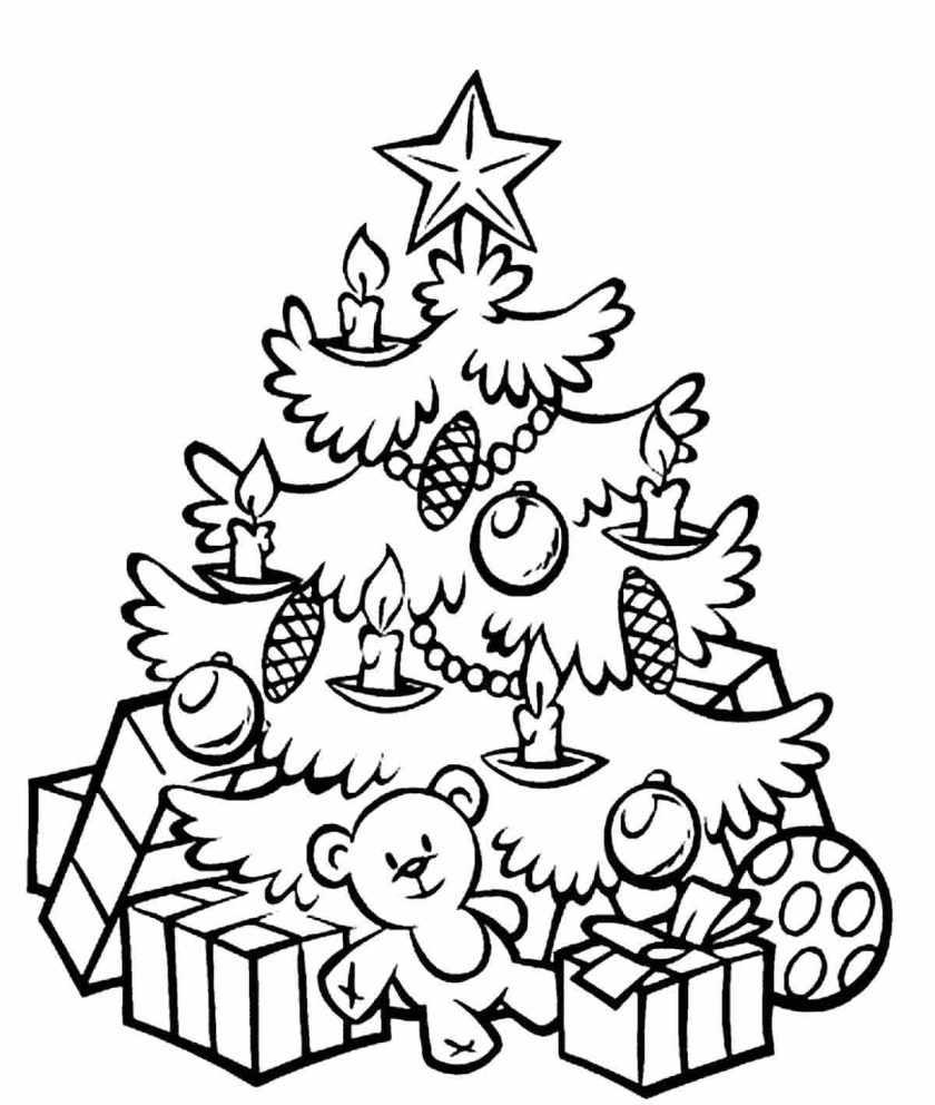 елка раскраска новогодняя картинка