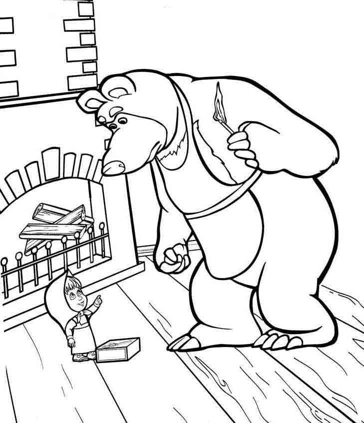 Раскраски Маша и Медведь скачать бесплатно