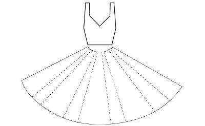 Открытка с платьем шаблон 439