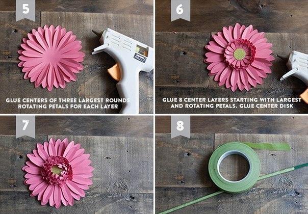 Как сделать герберу из бумаги своими руками 32